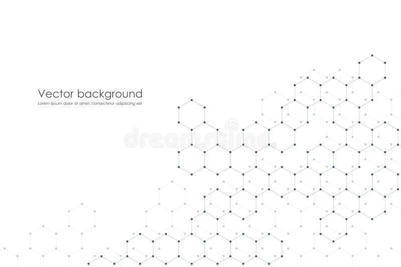 Abstracte hexagonale moleculeachtergrond, genetische en chemische samenstellingen, wetenschappelijke of technologische conceptenv vector illustratie