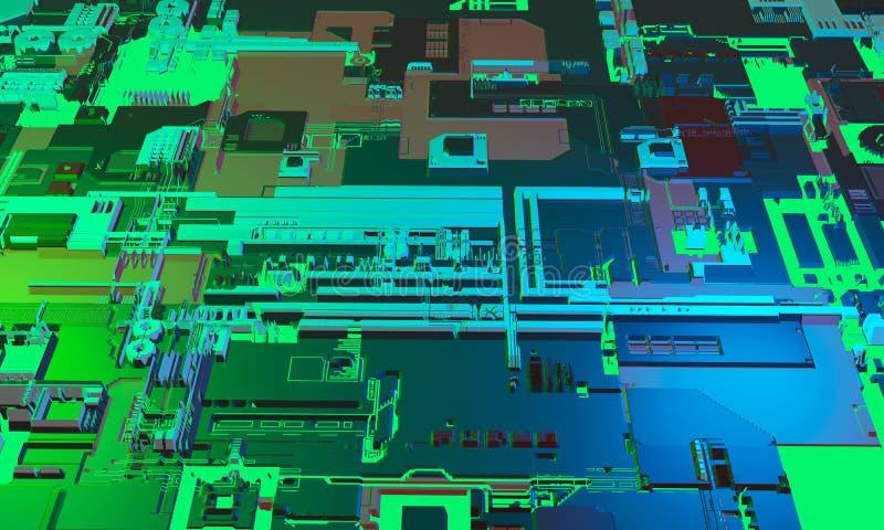 Abstracte high-tech elektronische PCB drukte de achtergrond van de kringsraad in blauwe en groene kleur 3D Illustratie royalty-vrije illustratie