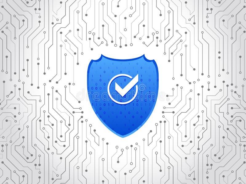 Abstracte high-tech kringsraad Het concept van het veiligheidsschild Gouden Tekst op Donkere Achtergrond royalty-vrije illustratie