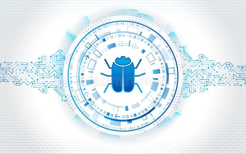 Abstracte high-tech kringsraad met hakkerinsect Het binnendringen in een beveiligd computersysteem en cyber misdaad Persoonlijk g stock illustratie
