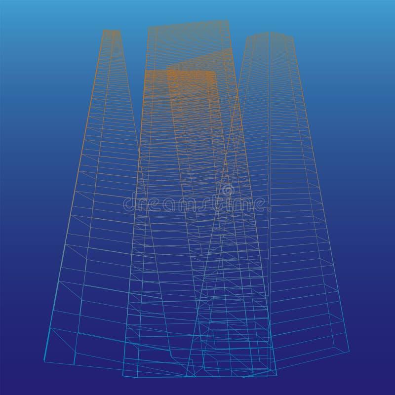 Abstracte hoge gebouwen royalty-vrije illustratie