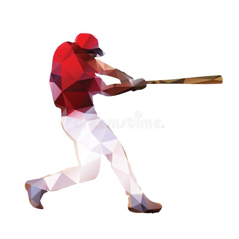 Abstracte honkbalspeler Geometrisch silhouet royalty-vrije illustratie