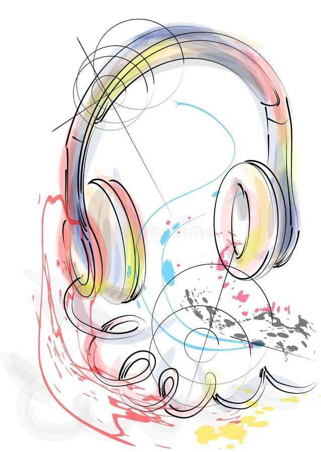 Abstracte hoofdtelefoons vector illustratie