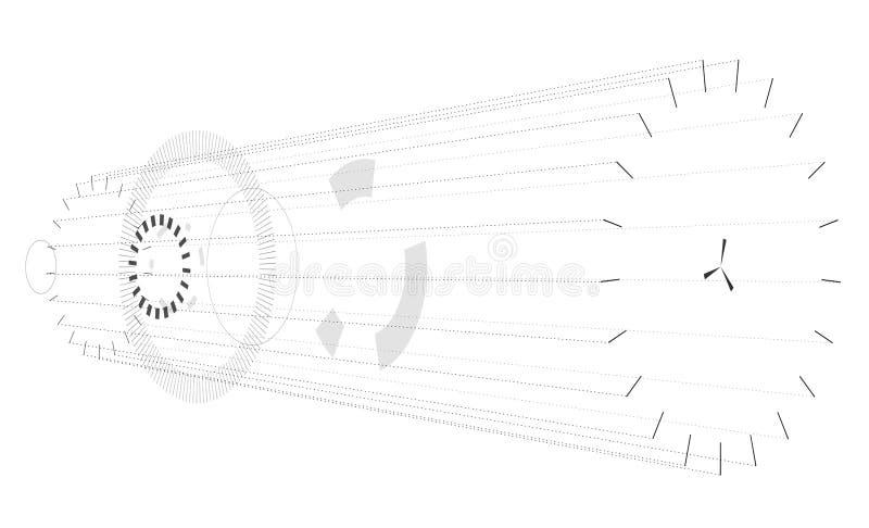 Abstracte horizontale samenstelling op witte achtergrond Vage cirkel isometrische samenstelling royalty-vrije illustratie