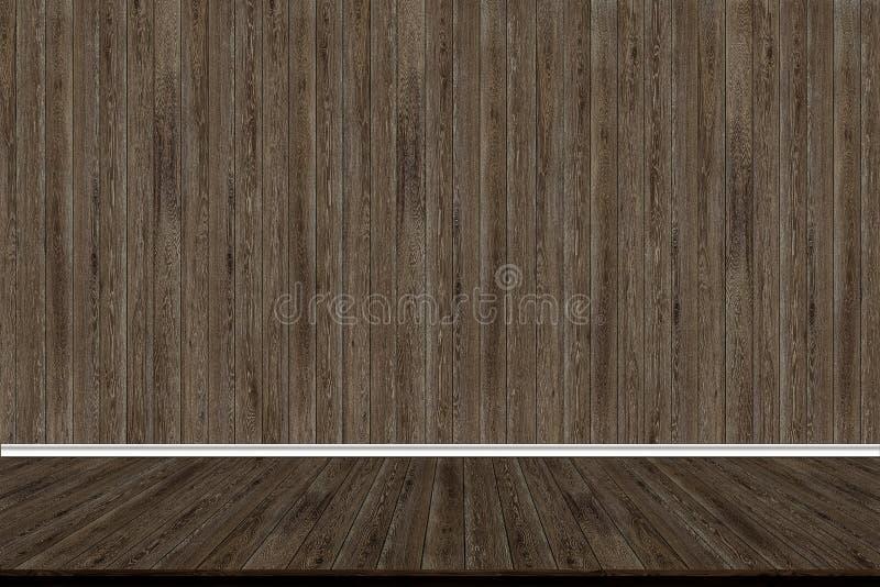 Abstracte houten muur en houten vloer in ruimte voor kunstwerk royalty-vrije stock afbeeldingen