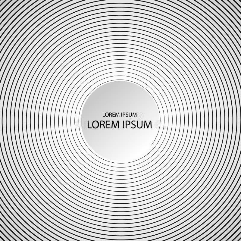 Abstracte, hypnotic achtergrond op zwart-witte, vectorillustratie royalty-vrije illustratie
