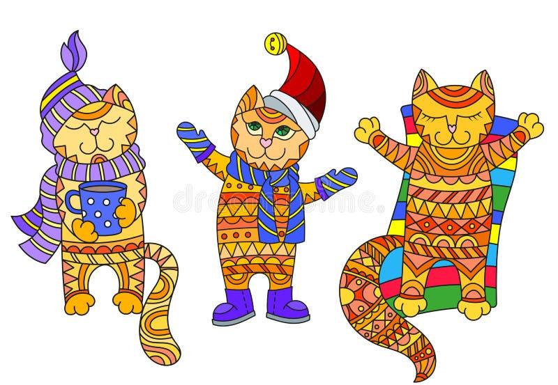 Abstracte Illustratie met grappige beeldverhaalkatten gekleed in verschillende die seizoenen, de herfst, winter en zomer, op witt royalty-vrije illustratie