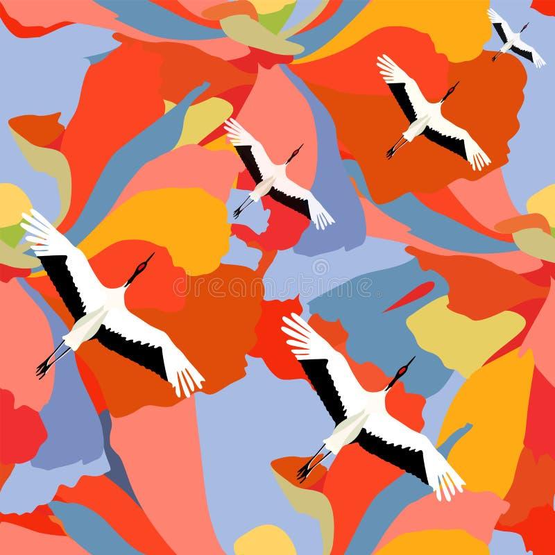Abstracte illustratie van het Japanse kranen vliegen vector illustratie