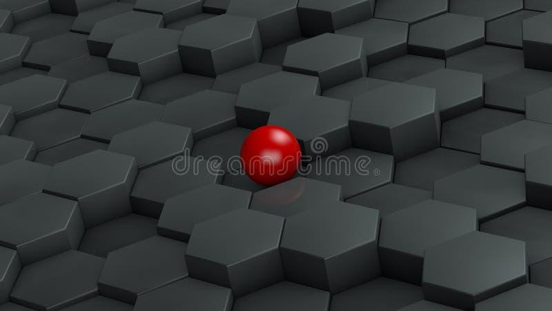 Abstracte illustratie van zwarte zeshoeken van verschillende grootte en rode bal die in het centrum liggen Het idee van uniciteit stock illustratie