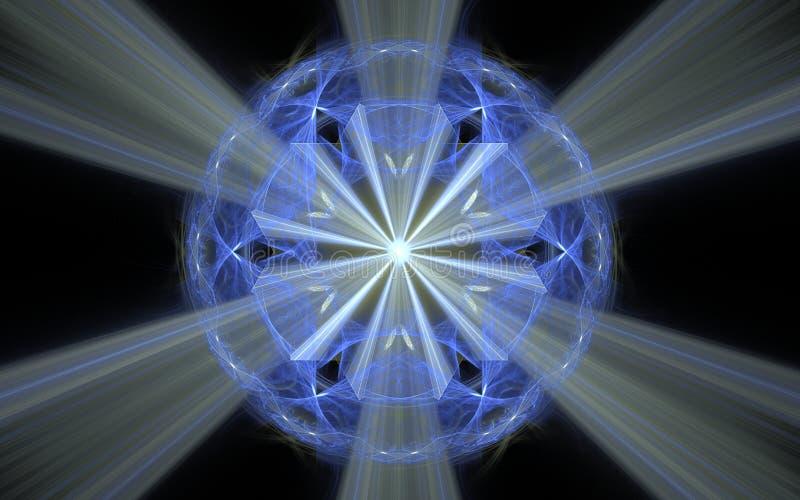 Abstracte illustratieachtergrondafbeelding van een lilac kristal met een gloeiend midden en randen, en het divergeren uitbreidend stock illustratie