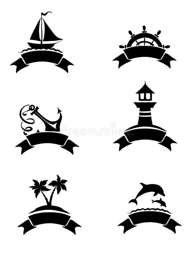 Abstracte illustraties - overzees thema royalty-vrije illustratie
