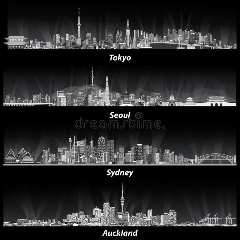 Abstracte illustraties van de horizonnen van Tokyo, van Seoel, van Sydney en van Auckland bij nacht in grijze schalen