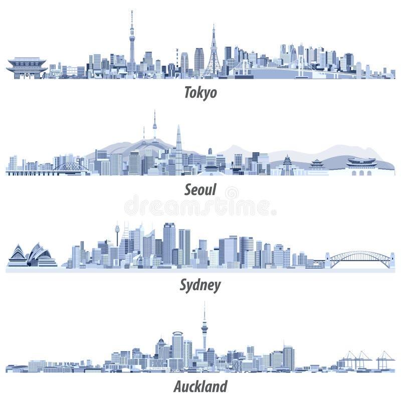 Abstracte illustraties van de horizonnen van Tokyo, van Seoel, van Sydney en van Auckland in tinten van blauw