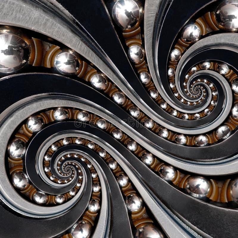 Abstracte industriële kogellager spiraalvormige fractal als achtergrond Dubbel spiraalvormig herhaald patroon met metaalballen, v stock foto