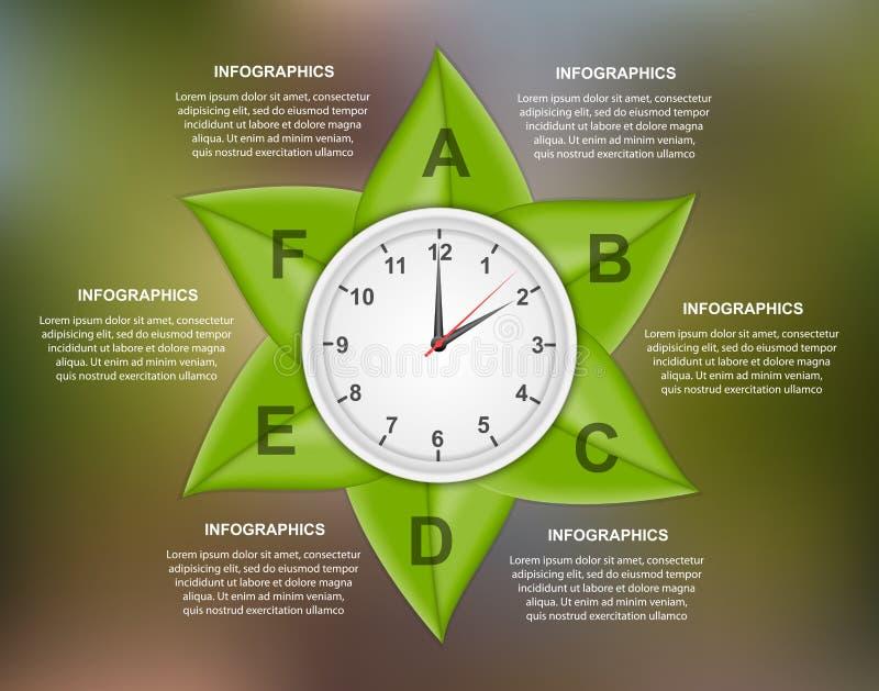 Abstracte infographic aard Groene bladeren op een kleurrijke achtergrond royalty-vrije illustratie