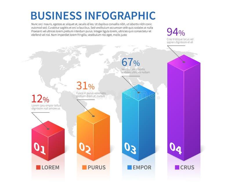 Abstracte infographic 3d barfinanciën met de vectorgrafiek van de wereldkaart vector illustratie
