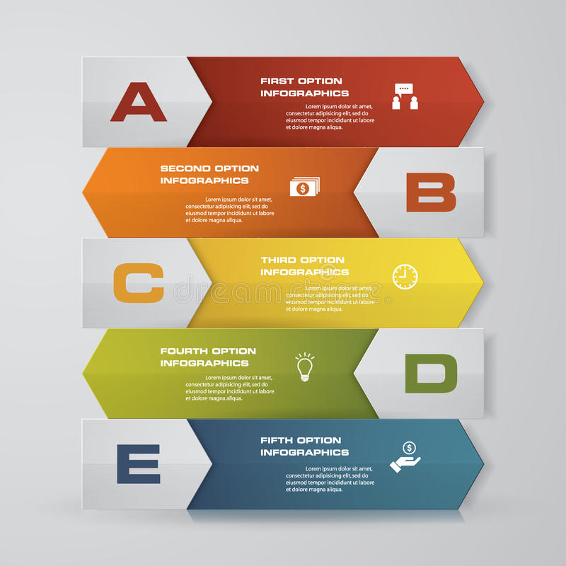 Abstracte Infographics-het ontwerpelementen van de pijlenbanner het malplaatje van de 5 staplay-out vector illustratie