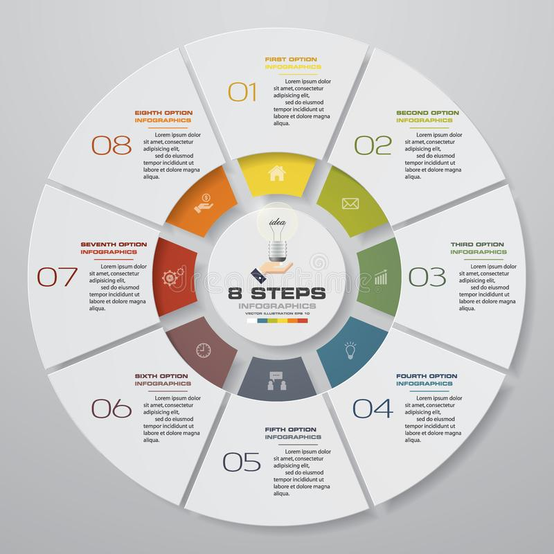 Abstracte 8 infographicselementen van het stappen moderne cirkeldiagram Vector illustratie stock illustratie