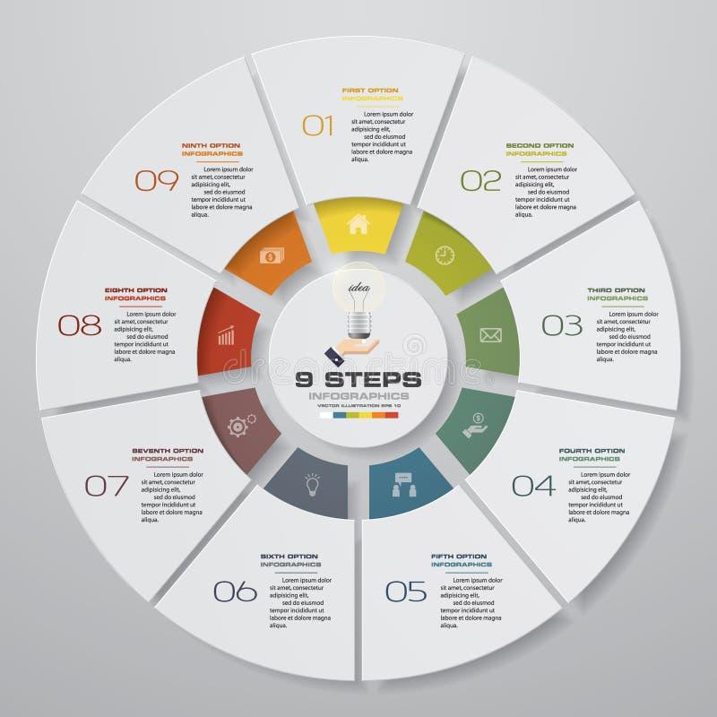 Abstracte 8 infographicselementen van het stappen moderne cirkeldiagram Vector illustratie vector illustratie