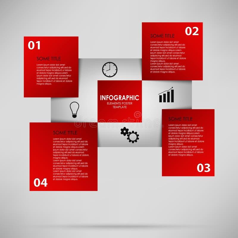Abstracte informatie grafisch met rode vierkanten stock illustratie