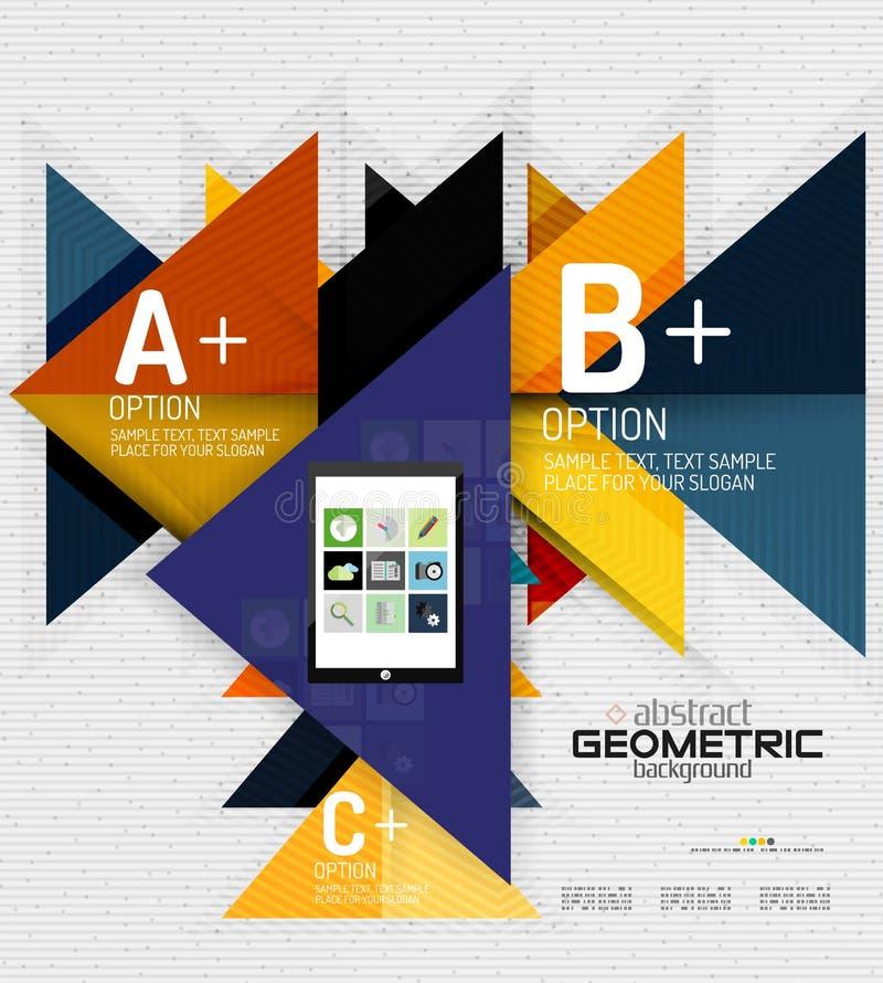 Abstracte informatiebanner met opties, geometrisch document vector illustratie