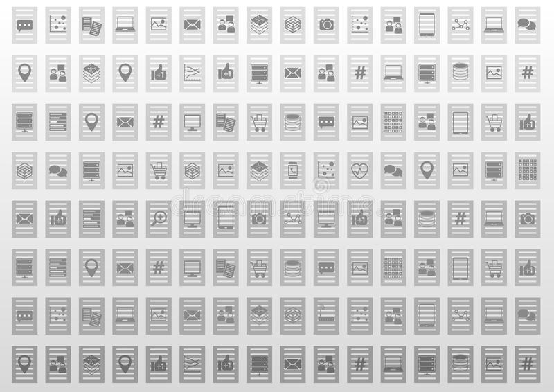 Abstracte informatietechnologie illustratieachtergrond in vlak ontwerp royalty-vrije illustratie