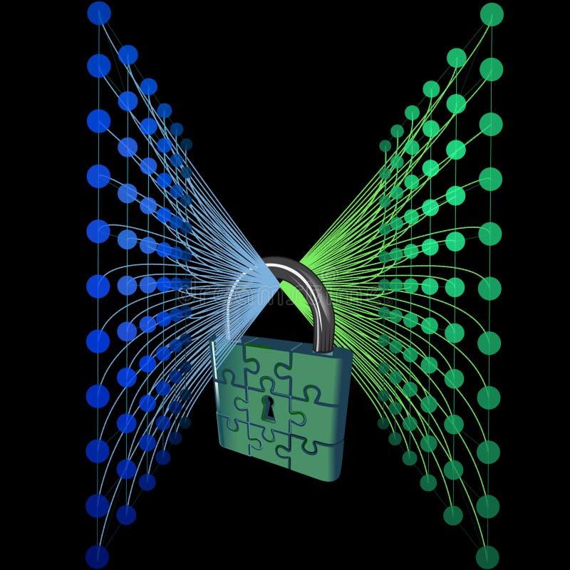 Abstracte Internet-veiligheidsachtergrond Cyber digitaal slot Vector illustratie royalty-vrije illustratie
