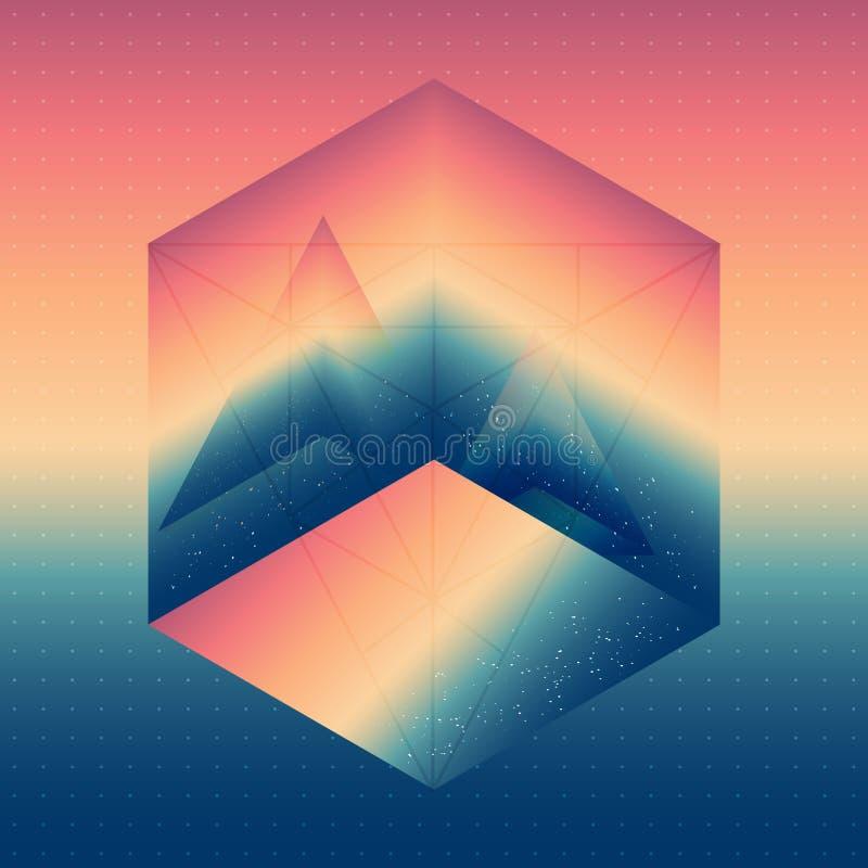 Abstracte isometrische kubus met de weerspiegeling van de ruimte en pyr vector illustratie