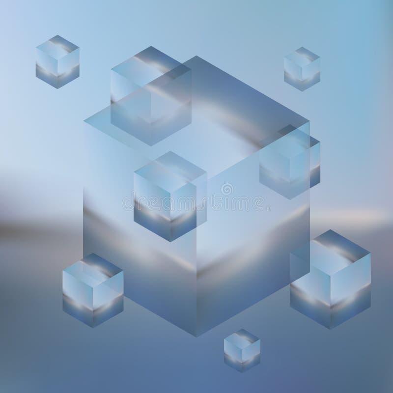 Abstracte isometrische kubussen op vage achtergrond Vectorminimalis vector illustratie