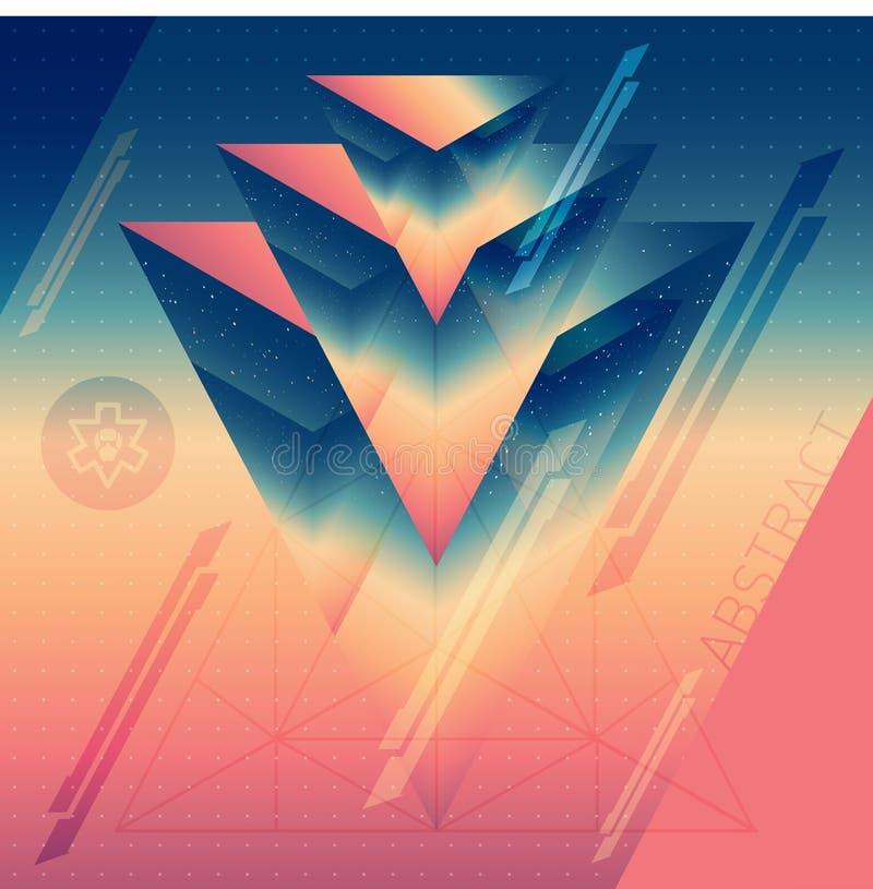 Abstracte isometrische prisma's met de weerspiegeling van de ruimte en l vector illustratie