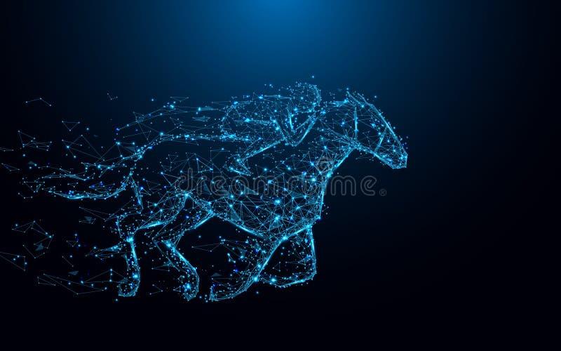 Abstracte Jockey op de lijnen van de paardvorm en driehoeken, punt verbindend netwerk op blauwe achtergrond stock illustratie