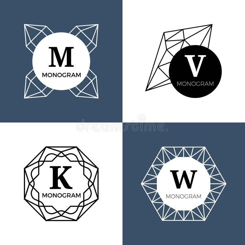 Abstracte juweelgemmen, diamantjuwelen, de vectormonogrammen van kristalvormen, emblemen vector illustratie