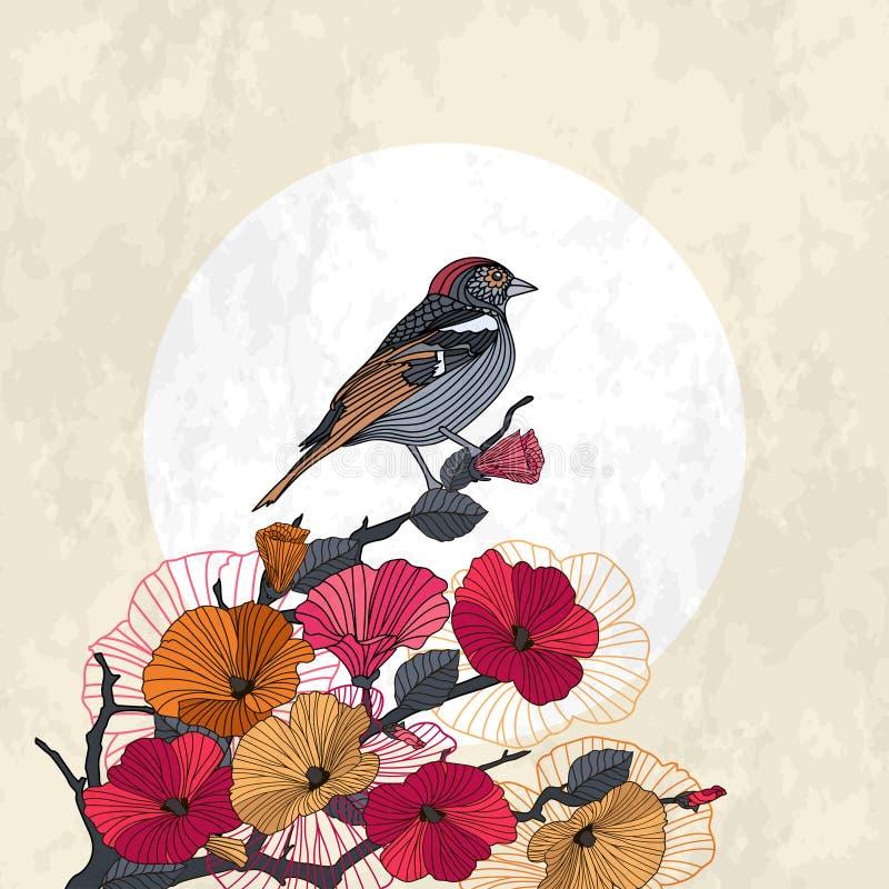 Abstracte kaart bloeiende tak met vogel royalty-vrije illustratie