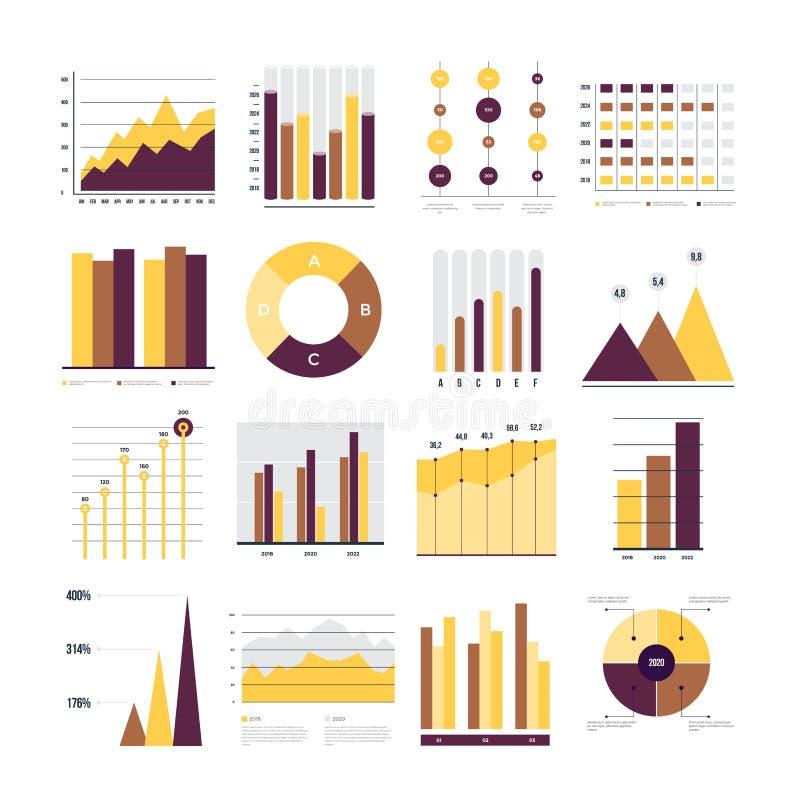 Abstracte kaart en lijnen als achtergrond Reeks financiële en marketing grafieken Ronde en met percentagesdiagrammen die vooruitg stock illustratie