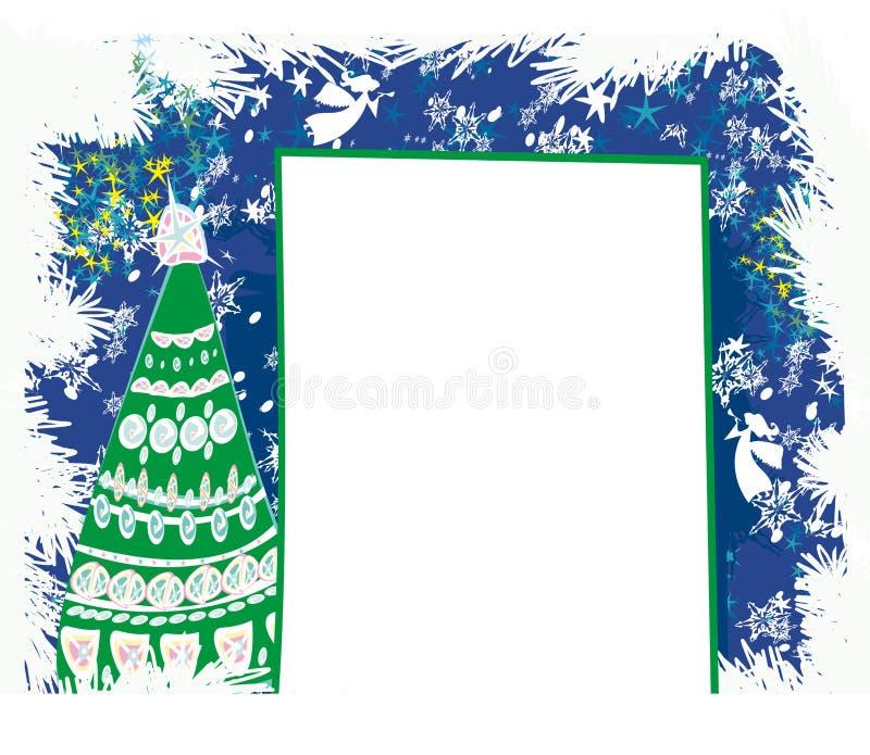 Abstracte kaart met Kerstboom stock illustratie