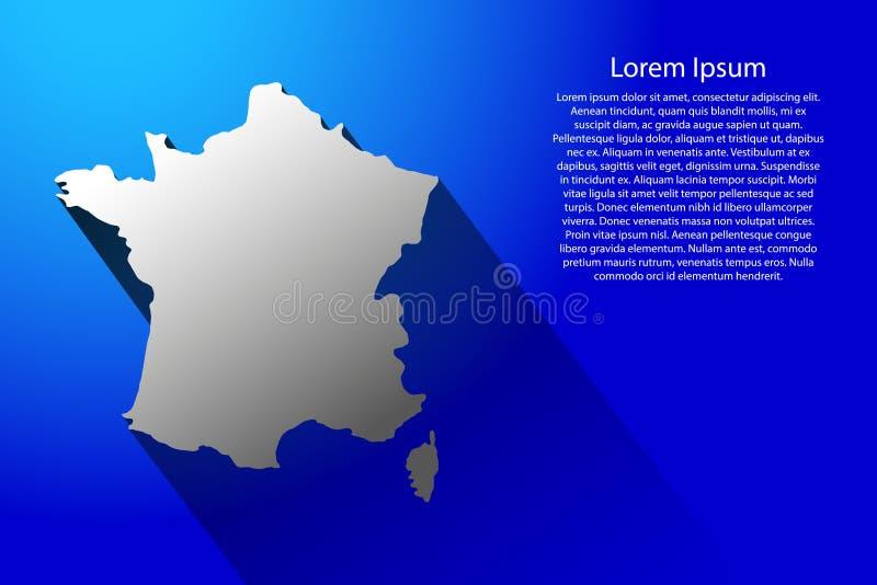 Abstracte kaart van Frankrijk met lange schaduw op blauwe vectorillustratie als achtergrond royalty-vrije illustratie