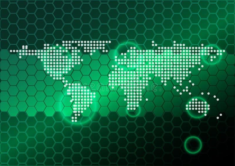Abstracte kaartpunt op patroon hexagon groene achtergrond royalty-vrije illustratie