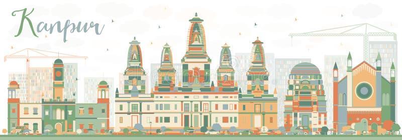 Abstracte Kanpur-Horizon met Kleurengebouwen vector illustratie