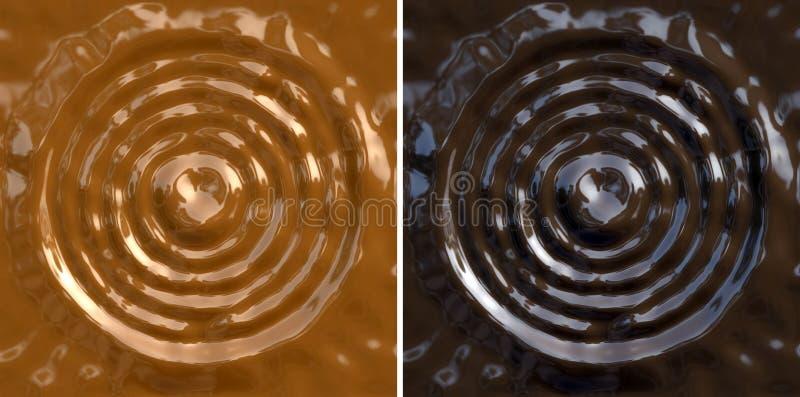 Abstracte karamel en donkere chocoladeachtergrond vector illustratie