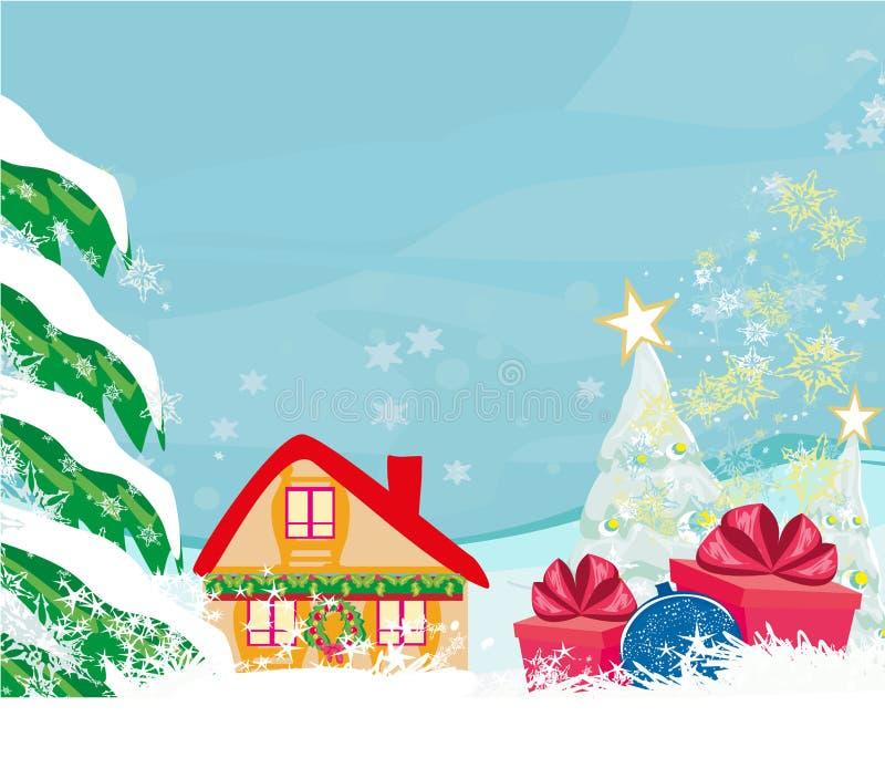 Abstracte Kerstkaart met een de verrassingsgift en winter landscap royalty-vrije illustratie