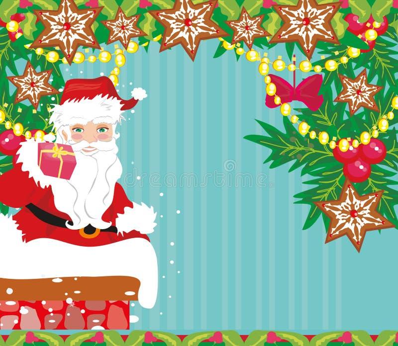 Abstracte Kerstkaart met Santa Claus vector illustratie