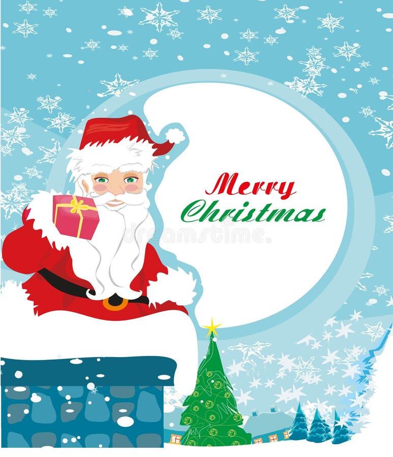 Abstracte Kerstkaart met Santa Claus stock illustratie