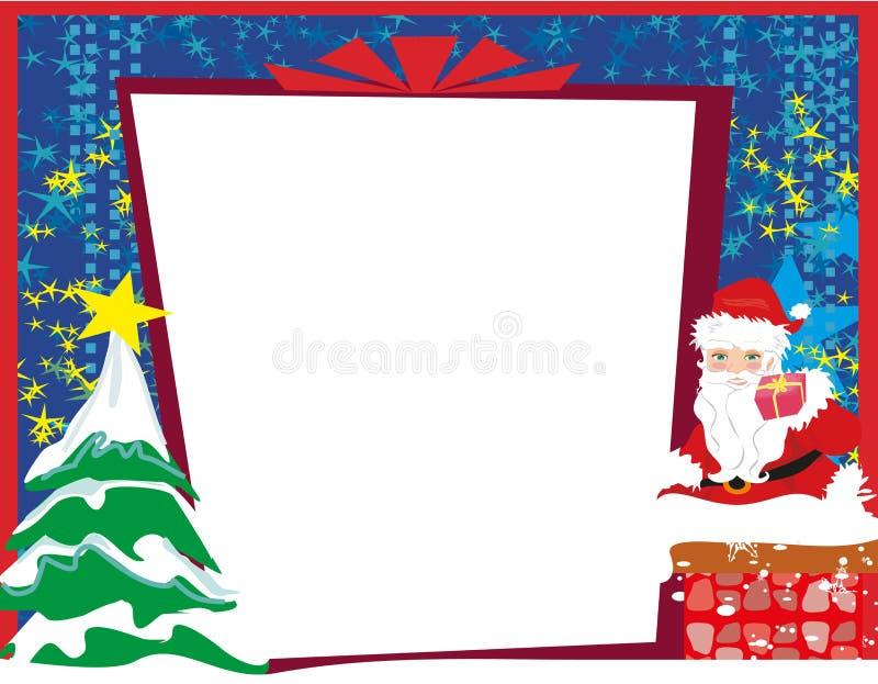 Abstracte Kerstkaart met Santa Claus en Kerstboom vector illustratie
