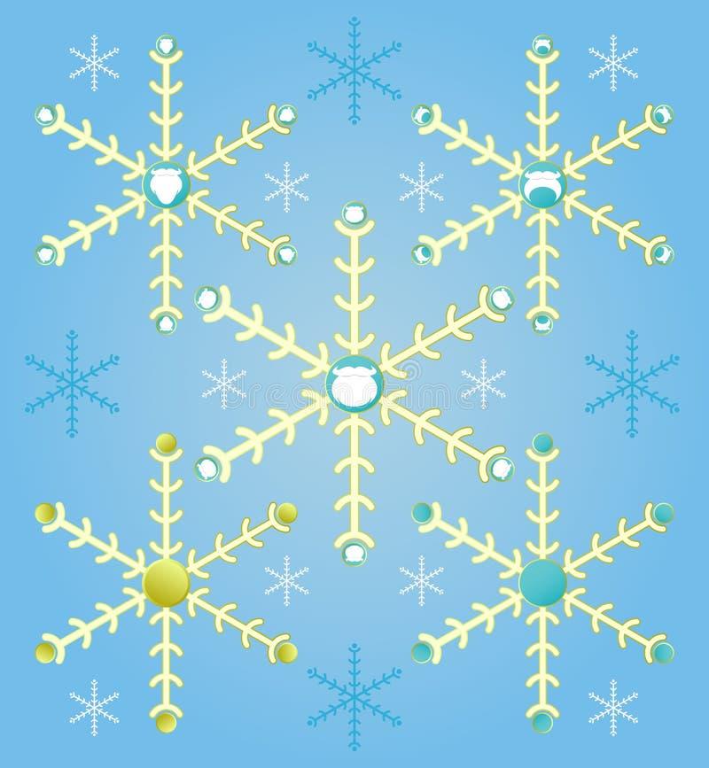 Abstracte Kerstmis vastgestelde sneeuwvlokken, santabaard op blauwe achtergrond stock afbeeldingen
