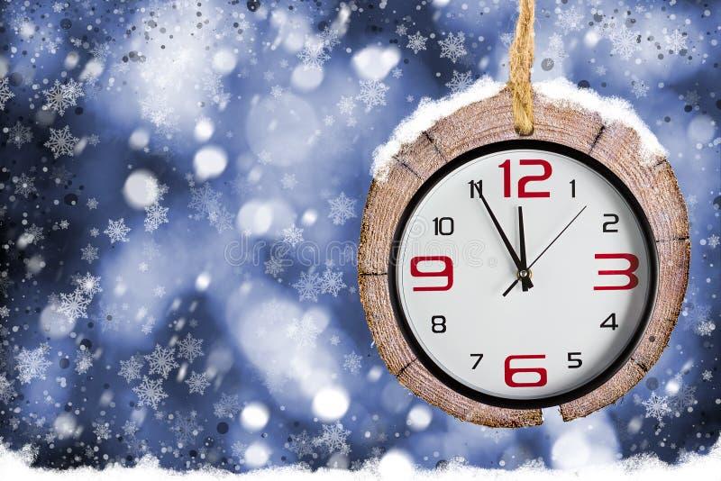 Abstracte Kerstmisachtergronden met oude horloges stock afbeeldingen