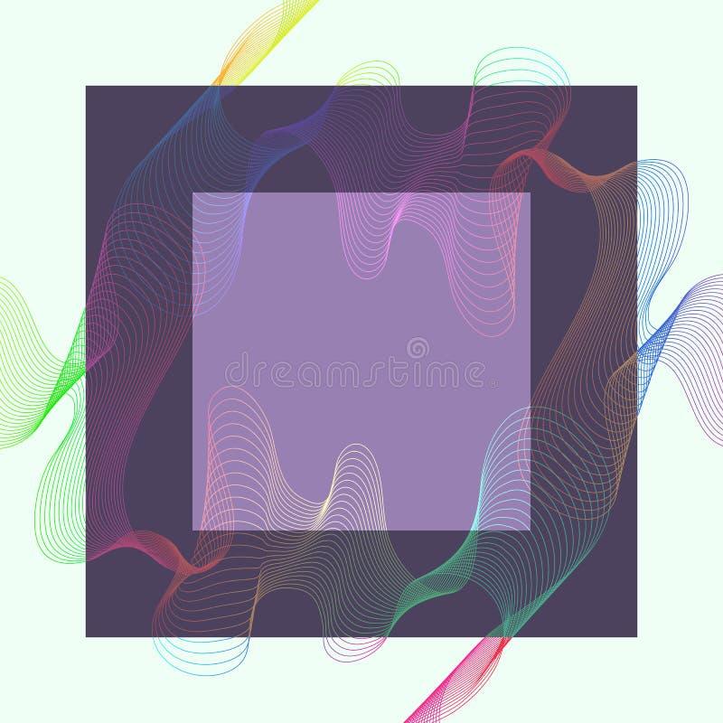 Abstracte kleuren golvende lijnen met vierkant elementenkader vector illustratie