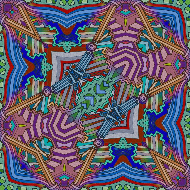Abstracte kleurengitaar - de muziek van de inspiratiekunst stock illustratie