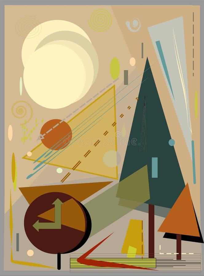 Abstracte kleurrijke achtergrond, klok in vierkante -18-103 royalty-vrije illustratie