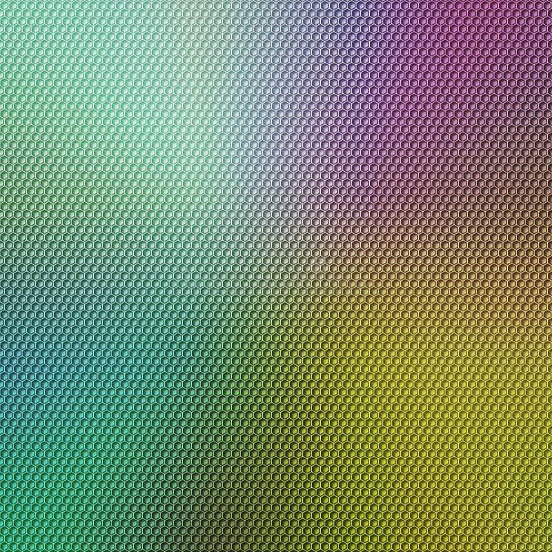 Abstracte kleurrijke achtergrond met een hexagonale bekleding van het honingraatnet royalty-vrije stock afbeelding