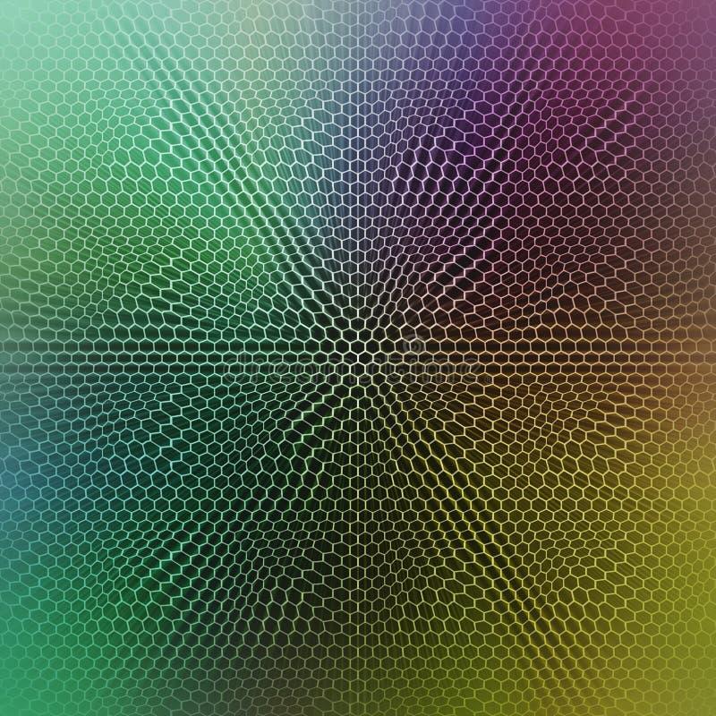 Abstracte kleurrijke achtergrond met een verdraaide hexagonale netbekleding stock foto's